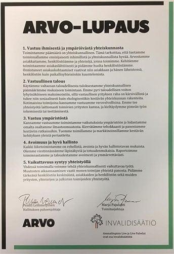 ARVO-lupaus allekirjoitettuna.