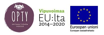 Opty-hankkeen, Vipuvoimaa EU:lta 2014-2020 ja Euroopan Unioni - Euroopan sosiaalirahaston logot.